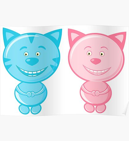 Pair of cute cats Poster