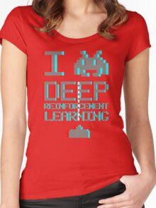I heart deep reinforcement learning, capital grey (8-bit 3D) Women's Fitted Scoop T-Shirt