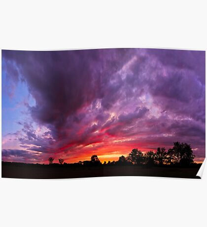 Epic Midwest Sunset and Stormy Sky Poster
