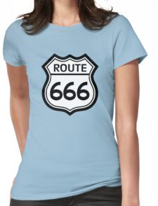 Route 666 road sign (route 66) Womens Fitted T-Shirt