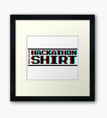 Hackathon shirt, block (8-bit 3D) Framed Print