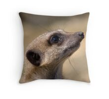 A meerkats face close up Throw Pillow