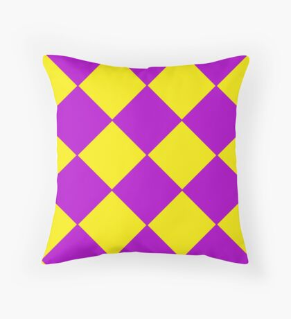 Plaid in crimson and yellow colours . Cell . Throw Pillow