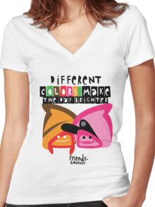 Different Colors Make The Day Brighter Women's Fitted V-Neck T-Shirt