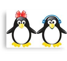 Pair of cute penguins Canvas Print
