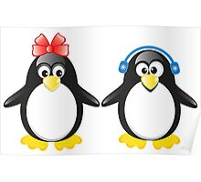 Pair of cute penguins Poster