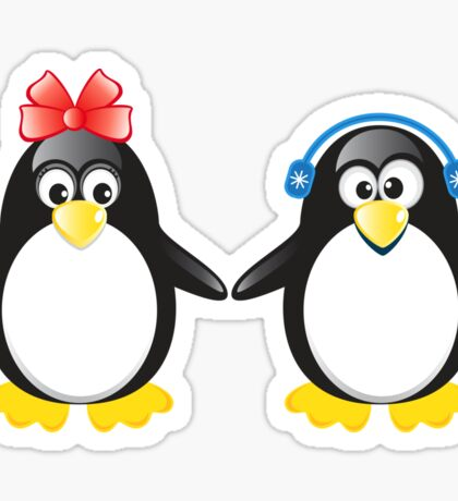 Pair of cute penguins Sticker