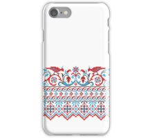Two colorful cross-stitch birds. Wedding, engagement, save the date iPhone Case/Skin
