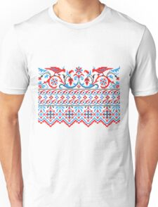 Two colorful cross-stitch birds. Wedding, engagement, save the date Unisex T-Shirt