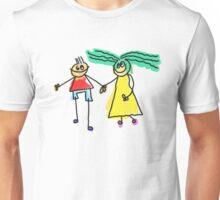 Loving Cartoon Couple Holding Hands Unisex T-Shirt