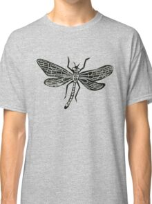 Dragonfly Insect Lino Print Classic T-Shirt