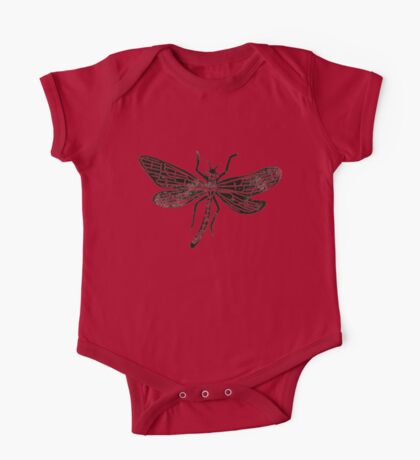 Dragonfly Insect Lino Print One Piece - Short Sleeve
