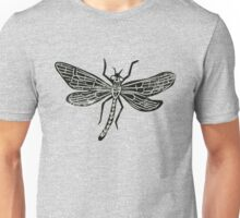 Dragonfly Insect Lino Print Unisex T-Shirt