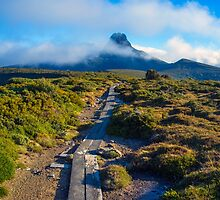 Walking towards Barn Bluff on the Overland Track. by Nicholas Griffin