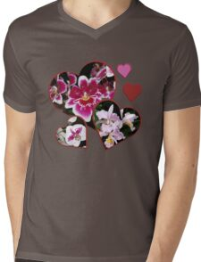 Hearts and Orchids Mens V-Neck T-Shirt