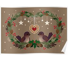Two Birds on a Christmas Wreath Poster