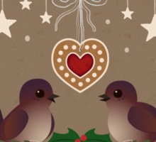Two Birds on a Christmas Wreath Sticker