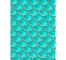 Teal Fish Scale Design  Photographic Print