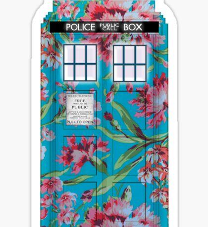 Floral Tardis 1 Sticker