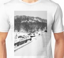 Snowing Forest And A Fishing Boat Unisex T-Shirt