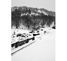 Snowing Forest And A Fishing Boat Photographic Print