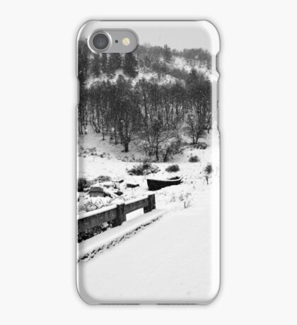Snowing Forest And A Fishing Boat iPhone Case/Skin