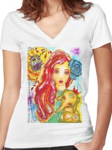 EllaBella Women's Fitted V-Neck T-Shirt