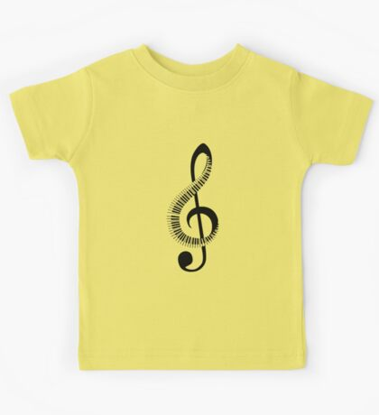 Treble clef sign with piano keyboard Kids Tee
