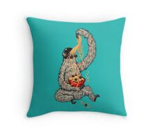 A Sloth Eating Spaghetti Throw Pillow