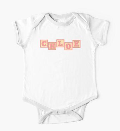 Baby Chloe in alphabet building blocks One Piece - Short Sleeve