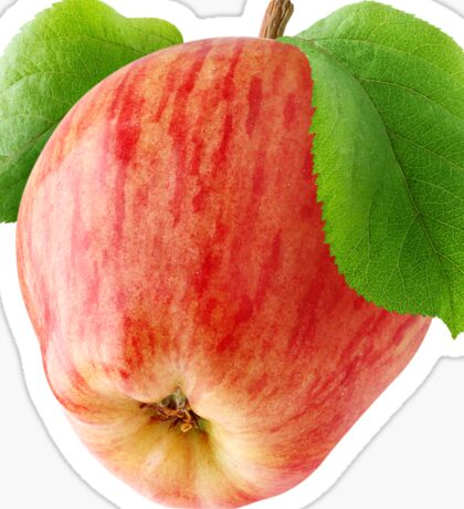 Red apple with leaves Sticker