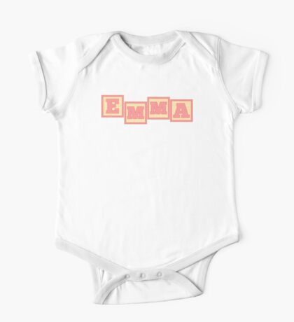 Baby Emma in alphabet building blocks One Piece - Short Sleeve