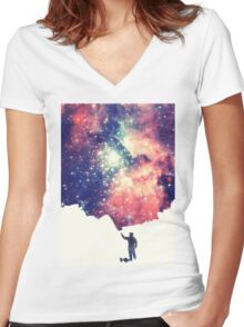 Painting the universe (Colorful Negative Space Art) Women's Fitted V-Neck T-Shirt