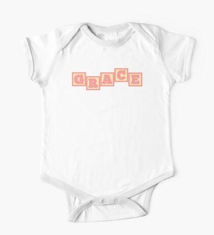 Baby Grace in alphabet building blocks One Piece - Short Sleeve