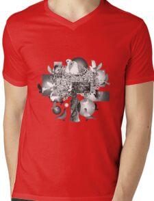 Black and White Dove Art Dark Background Mens V-Neck T-Shirt