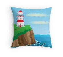 Summer seascape with lighthouse Throw Pillow