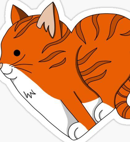 Heart Ginger Cat Sticker