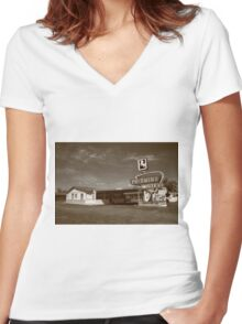 Route 66 - Tucumcari, New Mexico Women's Fitted V-Neck T-Shirt