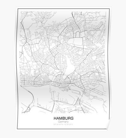 Hamburg Minimalist Map Poster