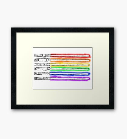 Homosexual Pride with lightsabers Framed Print