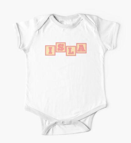 Baby Isla in alphabet building blocks One Piece - Short Sleeve