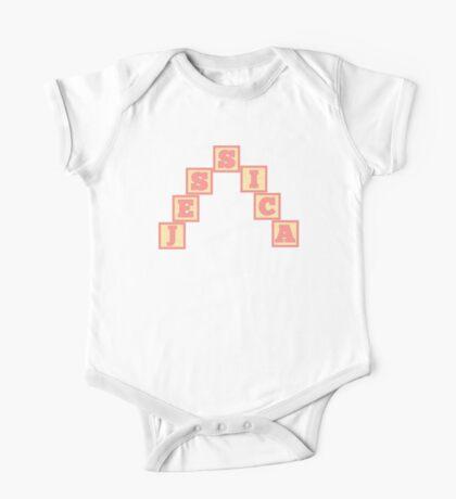 Baby Jessica in alphabet building blocks One Piece - Short Sleeve