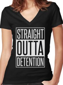 STRAIGHT OUTTA DETENTION Women's Fitted V-Neck T-Shirt