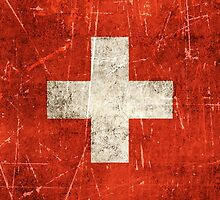 Vintage Aged and Scratched Swiss Flag by Jeff Bartels