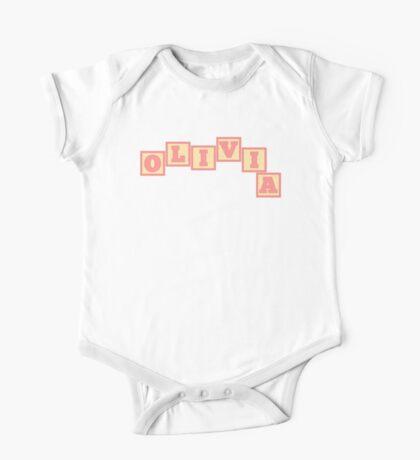 Baby Olivia in alphabet building blocks One Piece - Short Sleeve