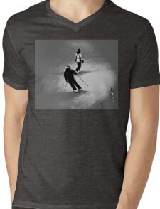 Winter Fun  - Skier and Snowboarder Mens V-Neck T-Shirt