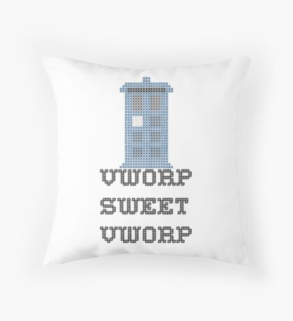 TARDIS - Doctor Who Cross Stitch - Vworp Sweet Vworp Throw Pillow