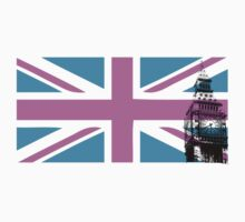 Union Jack and Big Ben, London, UK, Pink and Purple Kids Clothes