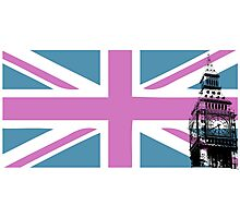 Union Jack and Big Ben, London, UK, Pink and Purple Photographic Print