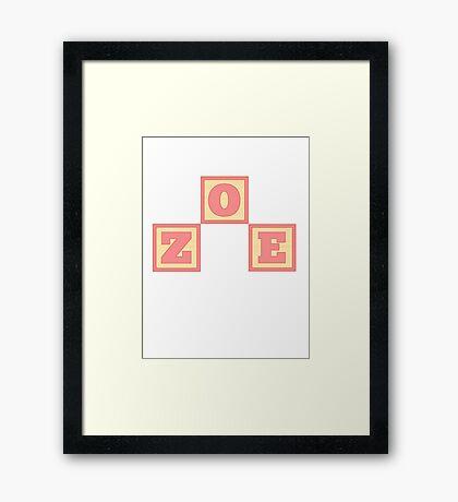 Baby Zoe in alphabet building blocks Framed Print